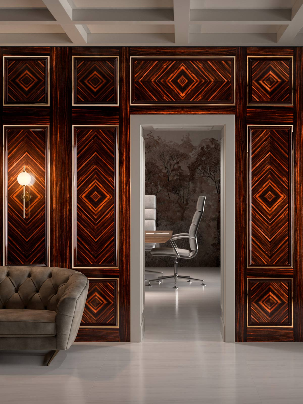 Paneling and doors in ebony with polished brass inlays