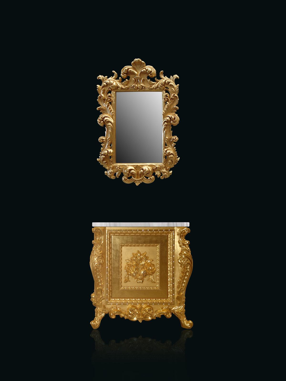 Custom vanities finished in 24K golden leaf