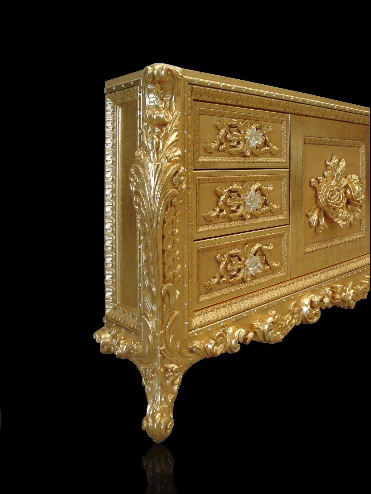 Custom vanities finished in gold leaf 24K