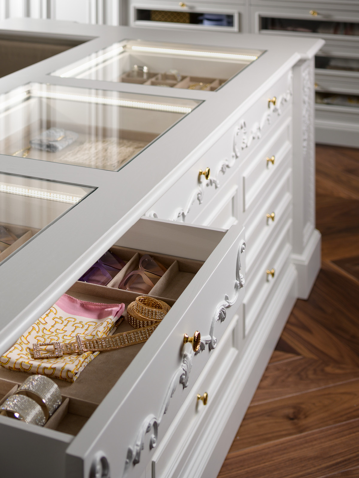 Detail on the internal of drawers with elegant custom slots upholstered with Alcantara