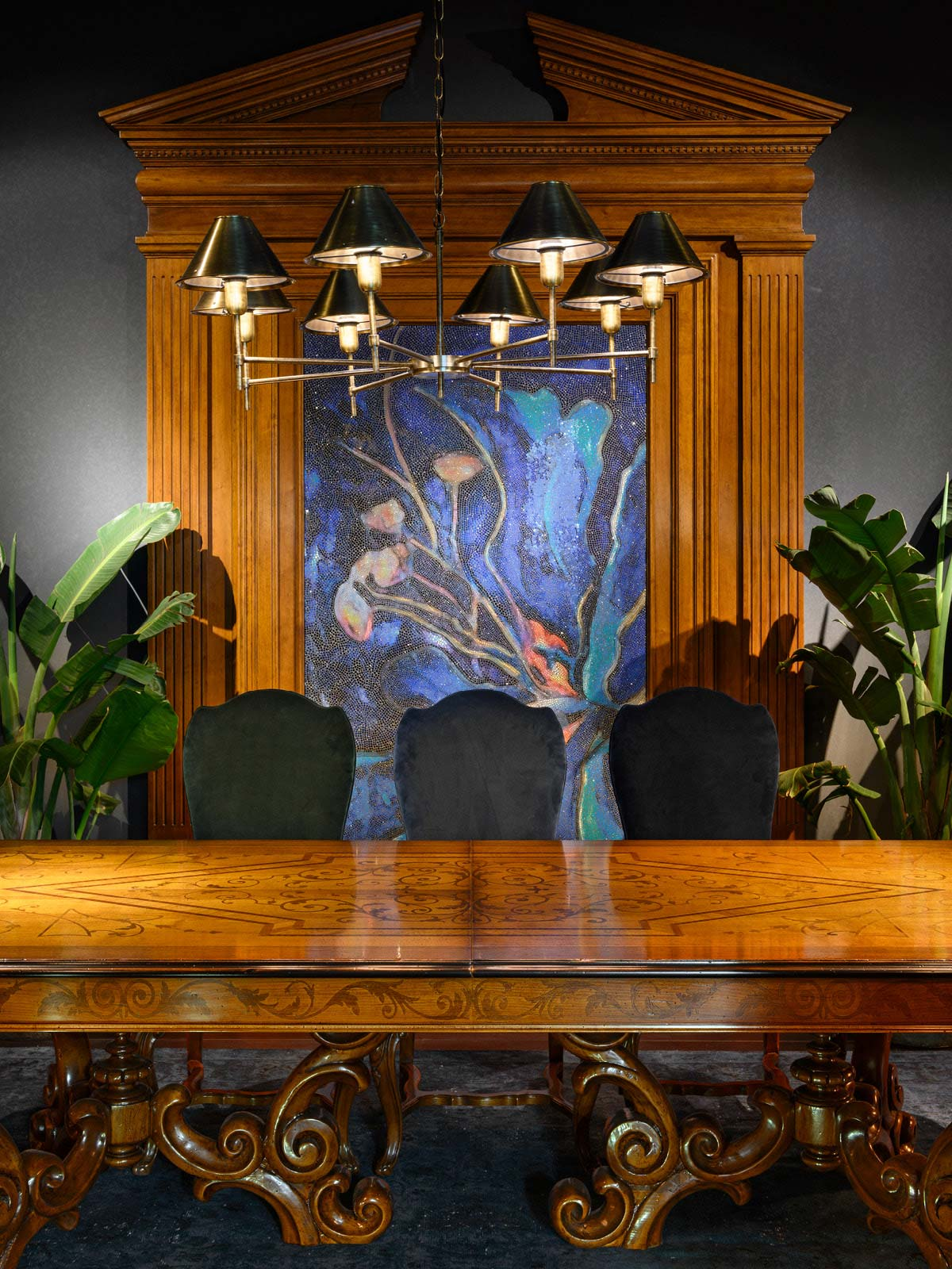 Table with leaves Mod. 854 – 274 (334/394) x 130 h 78 cm