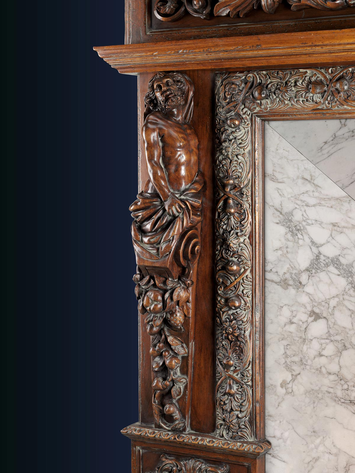 SAINT PETERSBURG, Russia – Custom mantel for fireplace in private house – 270 x 35 h 245 cm